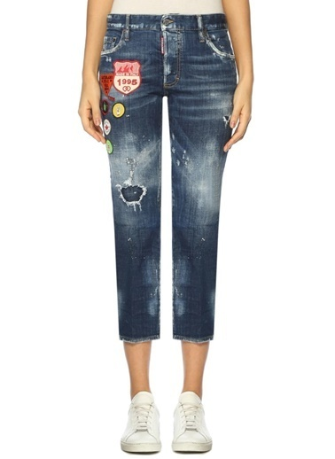 Dsquared2 Boru Paça Kısa Jean Pantolon Mavi
